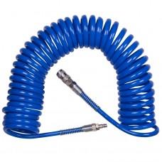 """Шланг пневматический спиральный высокого давления 8х12 мм, 15 м, резьба 1/4""""; KING TONY 79953-15"""